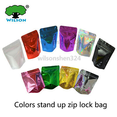 Big Size Colors Stand Up Zipper Bags Food Storage Plastic Packaging Pouch 50 Pcs