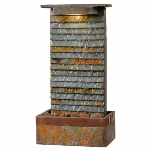 Unique Waterfall Slate Water Fountain Indoor Wall Mount Lighted HomeOffice Decor