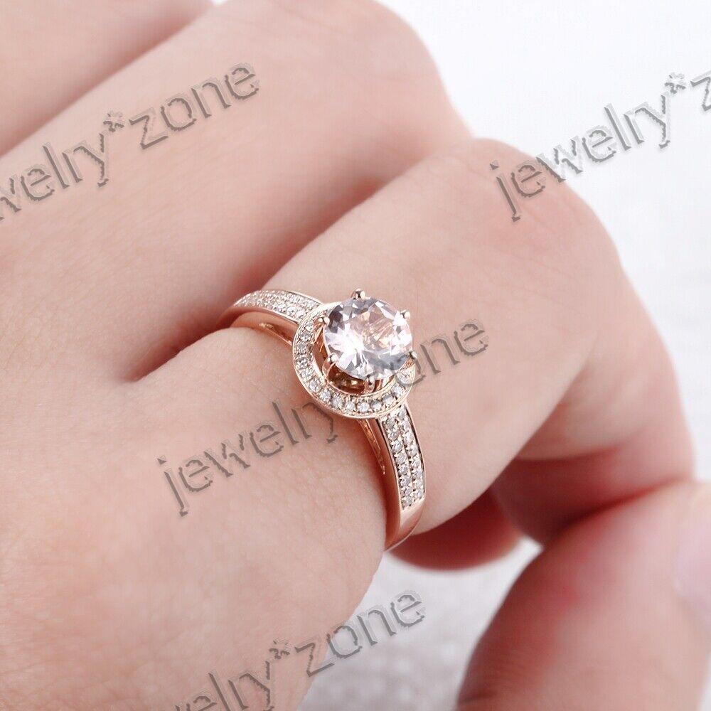 Round Cut Morganite Diamond Engagement Wedding Ring Fine 925 ...