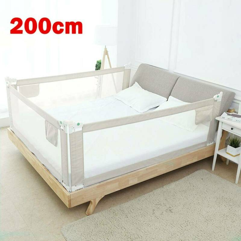 200cm Kids Bed Guard Toddler Safety Children Bedguard Baby Folding Metal Rail