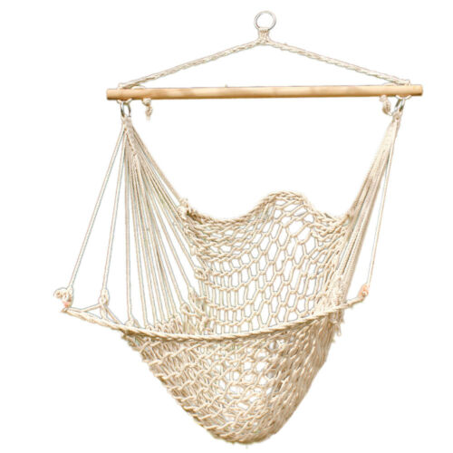 Hammock Cotton Swing Camping Hanging Rope Chair Wooden Beige