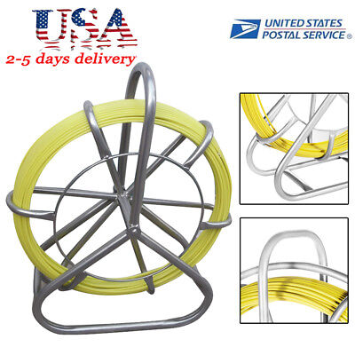 Usa Fast 130m Fish Tape Fiberglass Wire Cable Rod Duct Rodder Fishtape Puller A