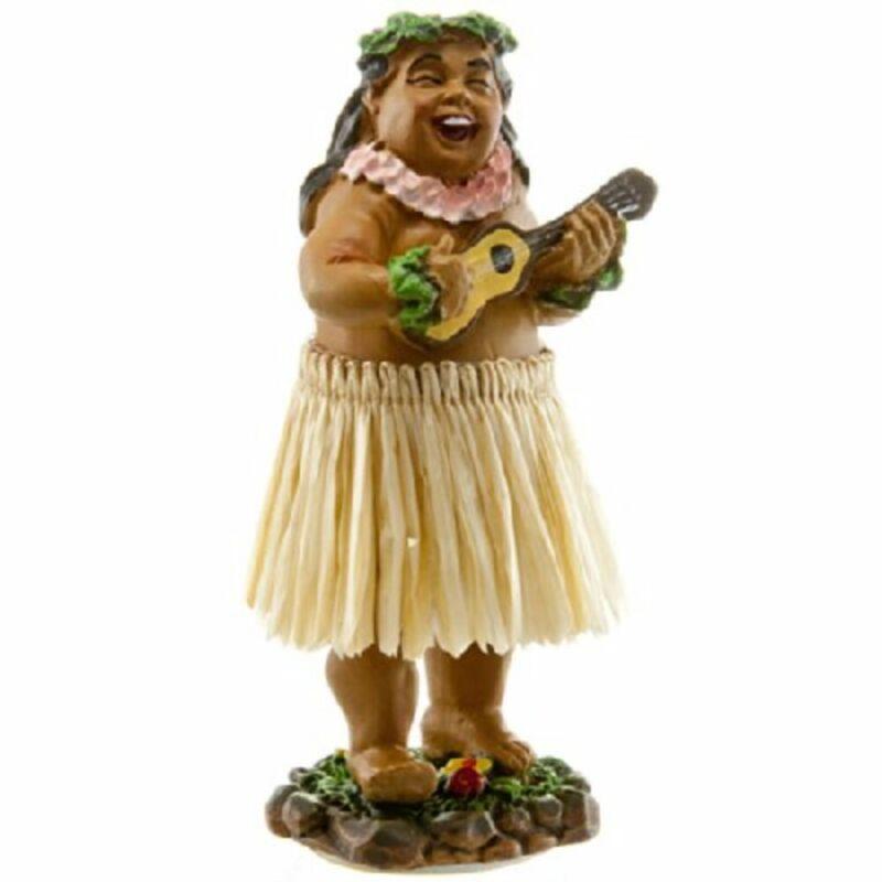 """KC Hawaii Braddah w/Ukulele 4"""" Mini Hula Dashboard Doll"""