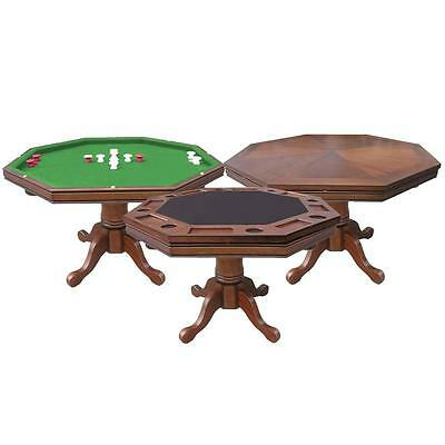 3-in-1 Wood 48 Inch Octagon Poker Game Table Dining Bumper Pool Walnut (3 In 1 Poker Table Bumper Pool)
