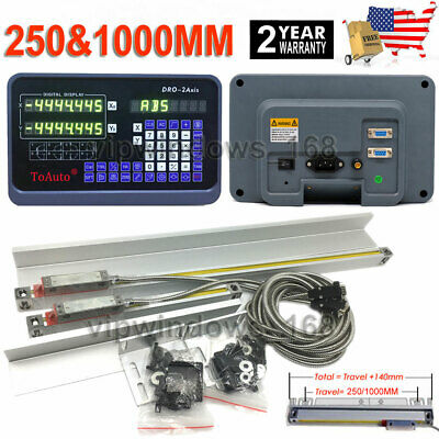 10 40 2 Axis Digital Readout Dro Kit Ttl Linear Glass Scale Bridgeport Mill