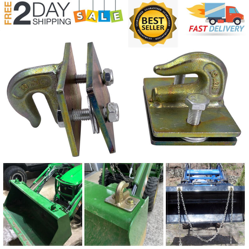 """2x 3/8"""" Bolt On Grab Chain Hooks For Skid Steer Loader Tractor Bucket Heavy Duty"""