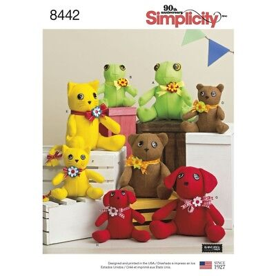 SEWING PATTERN! MAKE 2 PIECE PLUSH TOYS! CLOTH~STUFFED FROG~BEAR~CAT~DOG~2 SIZES