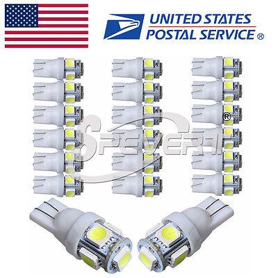 20 X Super White T10 Wedge 5 Smd Interior Led Light Bulbs W5w 194 168 2825 158