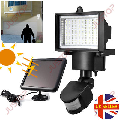 100 LED Bright Solar Powered PIR Sensor Flood Security Light Outdoor Garden Wall