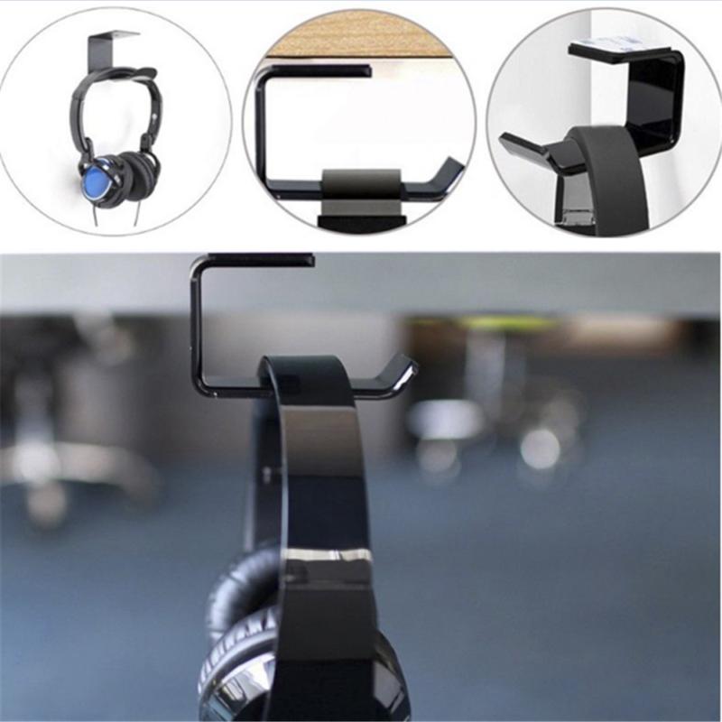 Simple Headphone Stand Hanger Hook Tape Under Desk Dual Head