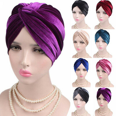 Velvet Turban - Woman Indian Style Velvet Turban Hat Bandana Chemo Head Wrap Muslim Headscarf