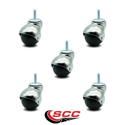 Scc Bright Chrome Hooded 2 Swivel Ball Casters With 516 Threaded Stems - Set 5