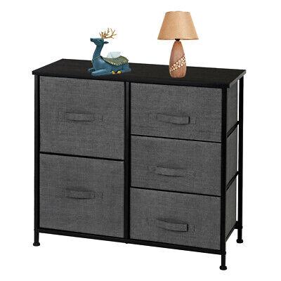Dresser Organizer W/ 5 Drawers Fabric Furniture Storage Tower Unit Bedroom Grey