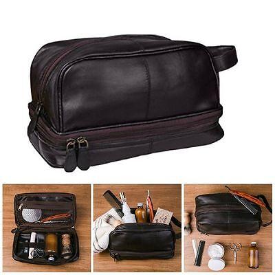 NEW Genuine Leather Toiletry Bag Shaving Kit  Travel Case for Men Dark Brown