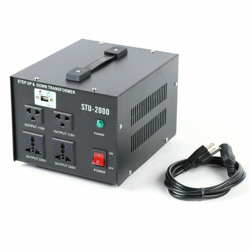 2000W USB Voltage Transformer Set UP&DOWN 110V To 220V Converter Transformer