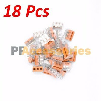 18 Pcs 3 Port Quick Push In Wire Connectors 16-10 Gauge 24a 400v Conductor