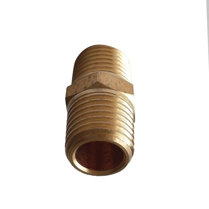 """3pcs 1/4"""" NPT To 1/4"""" BSPT Hex Nipple Connector  Brsss Pipe Fitting US-Euro"""
