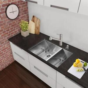 VIGO VG2920BLK1 29-in Endicott Stainless Steel Double Bowl Undermount Kitchen Sink, With Grids And Strainers NEW