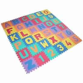Soft Alphabet & Number Puzzle Play Mat Jigsaw 36pcs (A-Z & 0-9) with Storage Bag