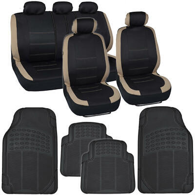 13 PC Car Seat Covers & Heavy Duty Rubber Floor Mats Set Beige/Black Sedan Truck Set Isuzu Hombre Truck