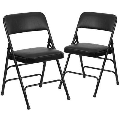 Hercules Series Metal Folding Chairs With Padded Seats Set Of 2 Black...