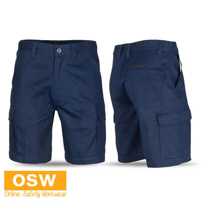 Cargo Slant Pockets Shorts - MENS TRADIES CONSTRUCTION NAVY MIDDLE WEIGHT SLANTED POCKET CARGO WORK SHORTS