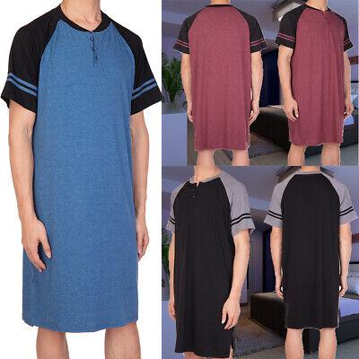 Men's Cotton Top Long Nightshirt Sleep Shirt Comfy Short Sleeve Henley Sleepwear - Mens Night Shirt
