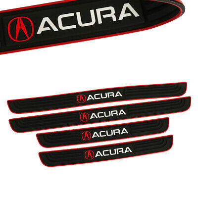 X4 Red Border Rubber Car Door Scuff Sill Cover Panel Step Protector for ACURA