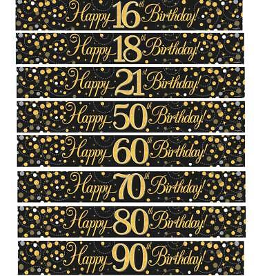 BIRTHDAY BANNERS GOLD / BLACK / SILVER  AGES 18 21 30 40 50 60 65 70 80 90 - 50 Birthday Banners