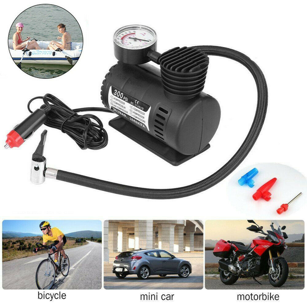 Mew Quick Flow Compact Air Compressor,12v Car Electric Mini Compact Compressor Pump Bike Tyre Air Inflator 300psi