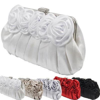 Satin Purse - New Women Floral Design Satin Flap Wedding Clutch Purse Evening Prom Bag Handbag