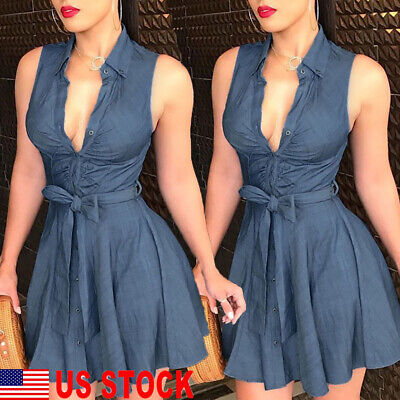 Women Ladies Blue Jeans Denim Sleeveless Casual EveningParty Short Mini Dress US - Ladies Clothing Dresses