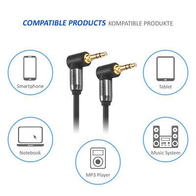 deleyCON 0,5m HQ Klinken Kabel 2x 90° Grad gewinkelt - 2x 3,5mm Klinken Stecker