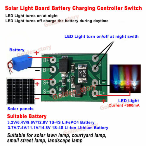 Automatic Solar Panel 3.2V 3.7V Battery Charger Board Night Light Control Switch