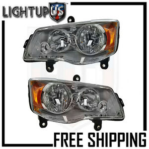 Headlights Headlamps Pair Left right for Chrysler Town & Country Grand Caravan
