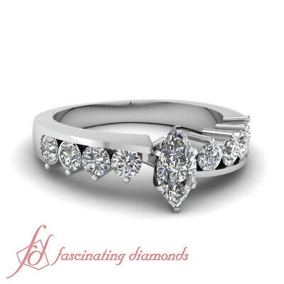 Marquise Cut And Round Diamond Journey Engagement Ring GIA Certified 1.20 Ct