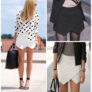 Fashion-Women-Asymmetrical-Career-Tiered-Culottes-Skorts-Shorts-Wrap-Mini-Skirts