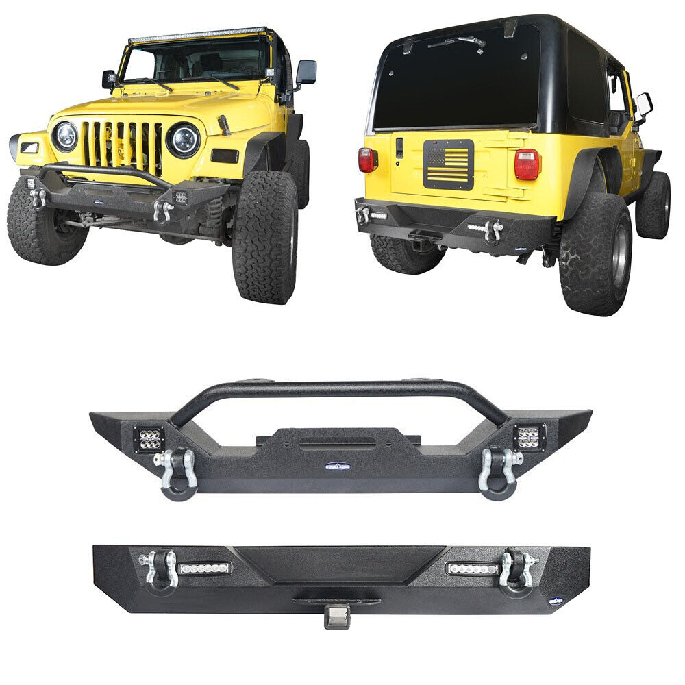 Front Bumper w// LED Lights /& D-Rings/& Winch Plate for 1997-2006 Jeep Wrangler TJ