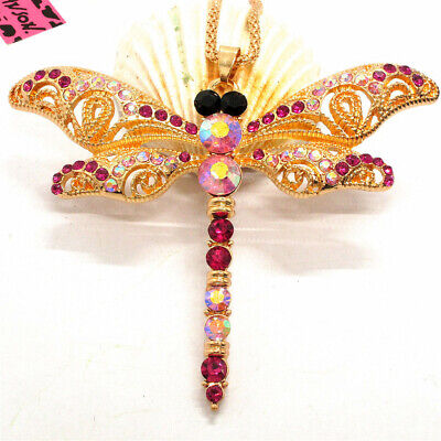 New Betsey Johnson Pink Bling Insect Dragonfly Crystal Necklace Sweater Chain