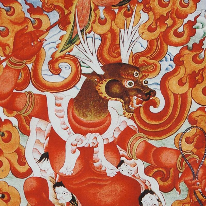 """RARE! 50"""" BROCADE SCROLL TIBET THANGKA: DEER FACED GOD GUARD HOME & FORTUNE ="""