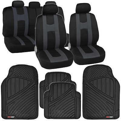 Complete Set Charcoal Stripe Car Seat Covers / FlexTough Mats Black Front & Rear