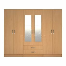Classic wardrobe 4 you, 2,28m wide 6 door beech wardrobe