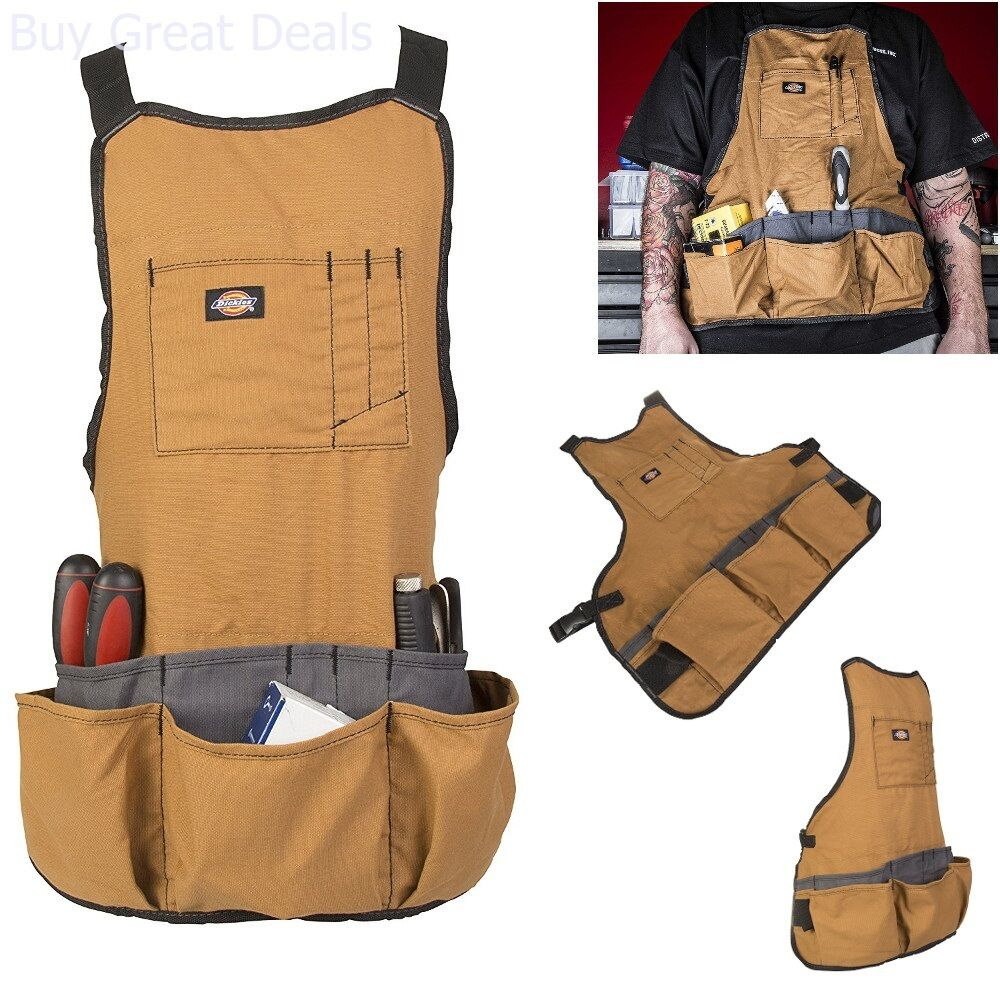 details about bib apron 16-pocket tool woodworking gardening craft mechanic  wood shop - new