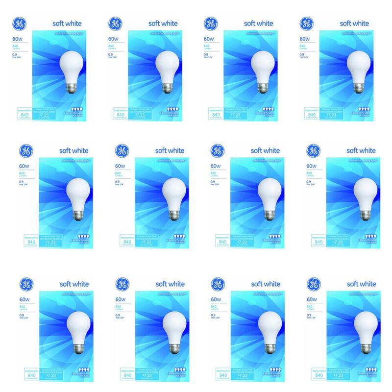 Pack of (12) New GE Bulb, Soft White 60 Watts, 4 bulbs per Pack