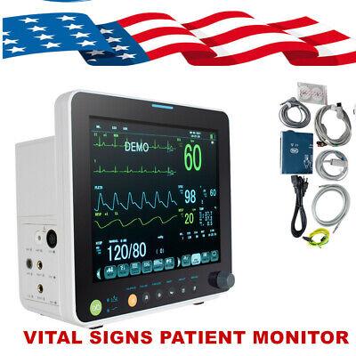 12 Tft Patient Monitor Cardiac Ecg Monitor Nibp Resp Temp Spo2 Pr Storage Box