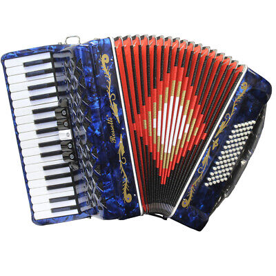 Rossetti 34 Key 72 Bass 5 Switch Piano Chromatic Accordion Pearloid Blue + Case