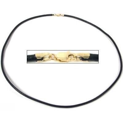Black Leather Cord 2.0mm Thick Necklace Jewelry 14K Gold Clasp 18