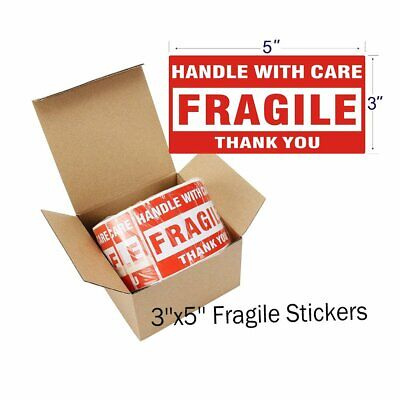3x5 Carton Fragile Stickers Packing Warning Fragile Handle With Care Words