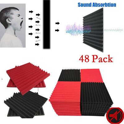 48 Pack Acoustic Foam Panels Studio Sound Insulation Soundproofing Wedge Tiles