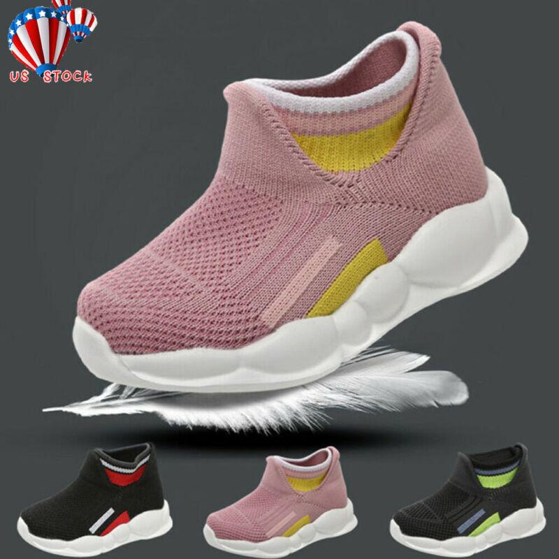 Toddler Girl&Boys Sport Stretch Mesh Sock Shoes Kids Baby Ru